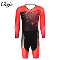CHEJI New Template Men's Skinsuit Long Sleeves Compression Wear Low Collar Racing Cycling Clothes Italy Fabric