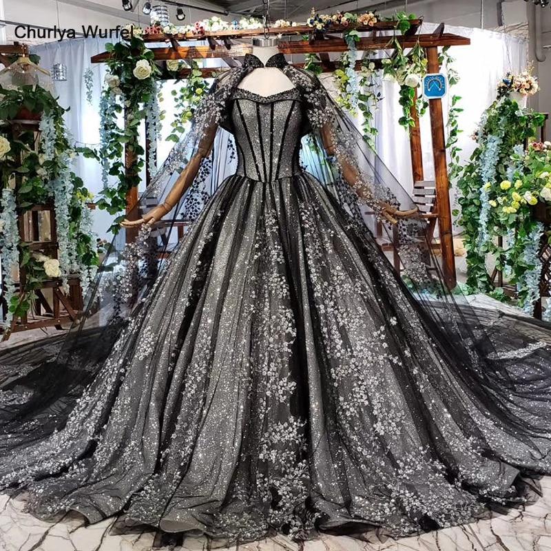 HTL571 Black Formal Dresses With Cape Lace Appliques Long Evening Dresses Ball Gown Parent-child Dress Robe Soiree Manche Longue