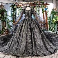 HTL571 black formal dresses with cape lace appliques long evening dresses ball gown Parent child dress robe soiree manche longue