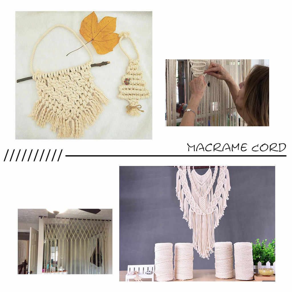 Cabo de corda de algodão macio bege natural artesanato macrame corda artesanal diy amarrando corda de fio 2mm * 200m decoração fornecimento #5