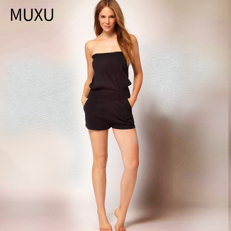 MUXU body suit summer BLACK jumpsuit bodies woman sexy jumpsuit womens rompers body femmes tutine donna combinaison short femme