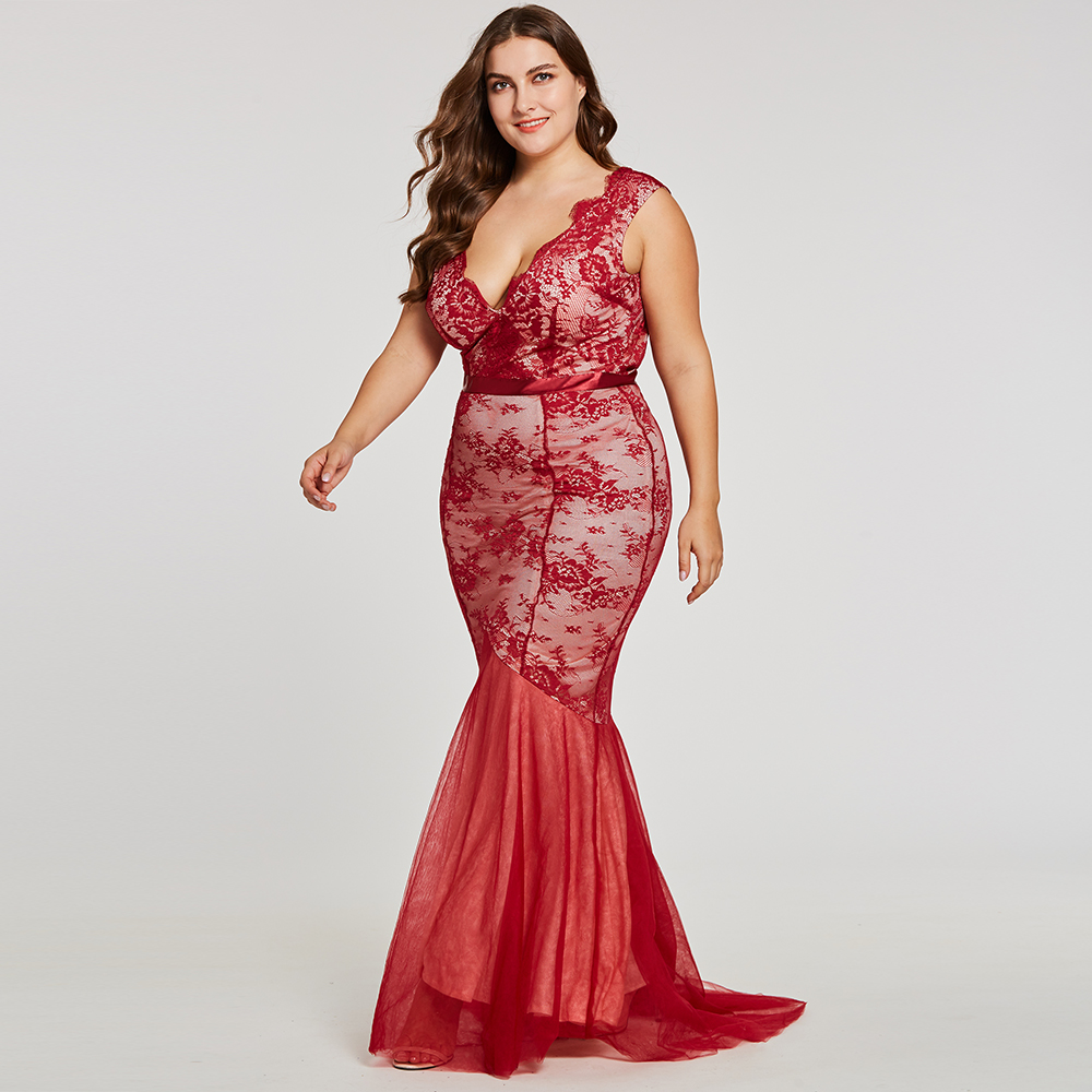 Dressv Burgundy V Neck Plus Size Evening Dress Elegant Cheap Mermaid