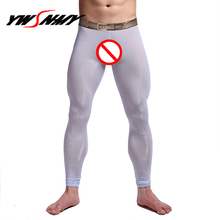 Mens Brand Sexy Nylon Transparent Long Johns Printed Fake Be
