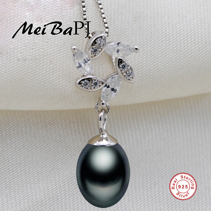 [MeiBaPJ]925 Sterling Silver Pearl flower Pendant Necklace Jewelry Real Freshwater Pearl Charm Fine Accessaries for women