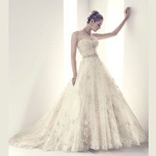 Real Romantic Ball Gown Ivory and Grey Applique Lace font b Wedding b font font b