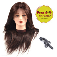 Synthetic Fiber Hair 22 Inches Hairdressing Head Makeup Practice Head For Hairdressers Training Mannequin Head