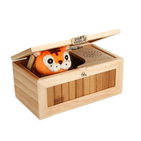 Useless Box Leave Me Alone Box Wooden Most Machine Don't Touch Tiger close the door Funny Toy Gift for Kids Boys Girls New 2018