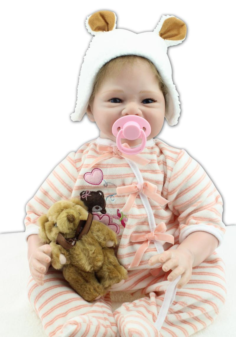 55cm Reborn Baby Dolls Baby Growth Playmates Accompany Toys Princess Sleeping Dolls Cute Brinquedos for Christmas Birthday Gifts sanydoll reborn baby dolls cute suit clothes gift baby growth partners magnet pacifier 22 55cm