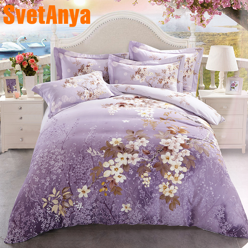 Svetanya Floral Print Bedding Set Sanded Cotton Sheet Pillowcases Duvet Cover Sets Queen Double King Size Bedlinen KitSvetanya Floral Print Bedding Set Sanded Cotton Sheet Pillowcases Duvet Cover Sets Queen Double King Size Bedlinen Kit