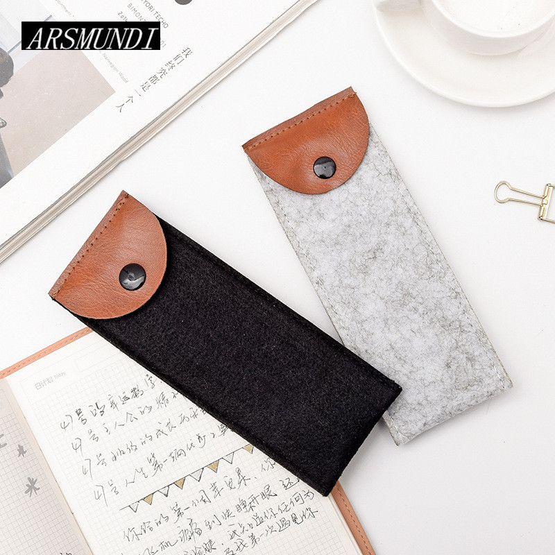 Simple Solid Color Felt Pencil Case School Supplies Cute Pen Case Stationery Pencilcase Pencil Bag