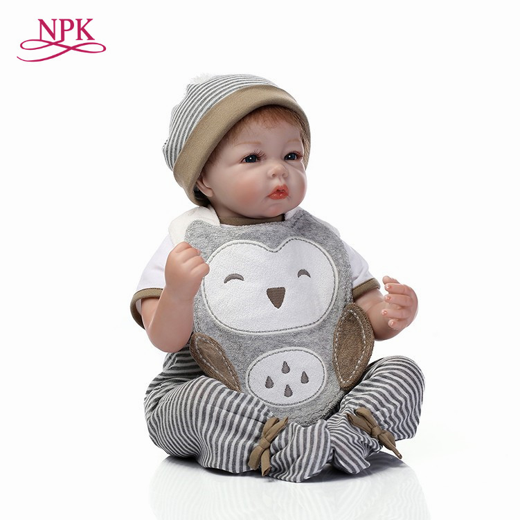 NPK very soft 22inches 55cm reborn baby doll lifelike soft silicone vinyl real gentle touch grey doll Free shipping free shipping 55cm lifelike reborn baby doll new feiber hair soft real gentle touch vinyl silicone doll for children to playing