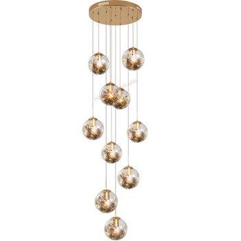 кулон из дутого стекла | Арт-деко подвесной домашний декор длинная фойе Лестница Современная ручная выдувная стеклянная люстра свет для высоких потолков