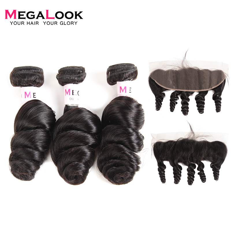 Megalook Malaysian Loose Wave Bundles With Frontal 100% Remy Human Hair Weave With Lace Frontal Natural Color