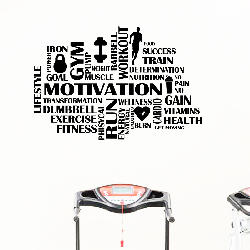 Gym Motivational Words Wall Decal Fitness Sport Vinyl Wall Sticker Home Decor GYM Work Out Wall Decoration