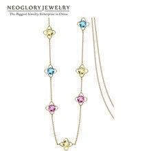 Neoglory светильник, желтый, золотой, цветной с украшением в виде кристаллов длинные цепочки длинные ожерелья для Для женщин бренд подарки