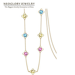 Neoglory <font><b>Light</b></font> Yellow Gold Color Colorful Crystal <font><b>Long</b></font> Chains <font><b>Long</b></font> Necklaces For Women 2018 New Brand Gifts