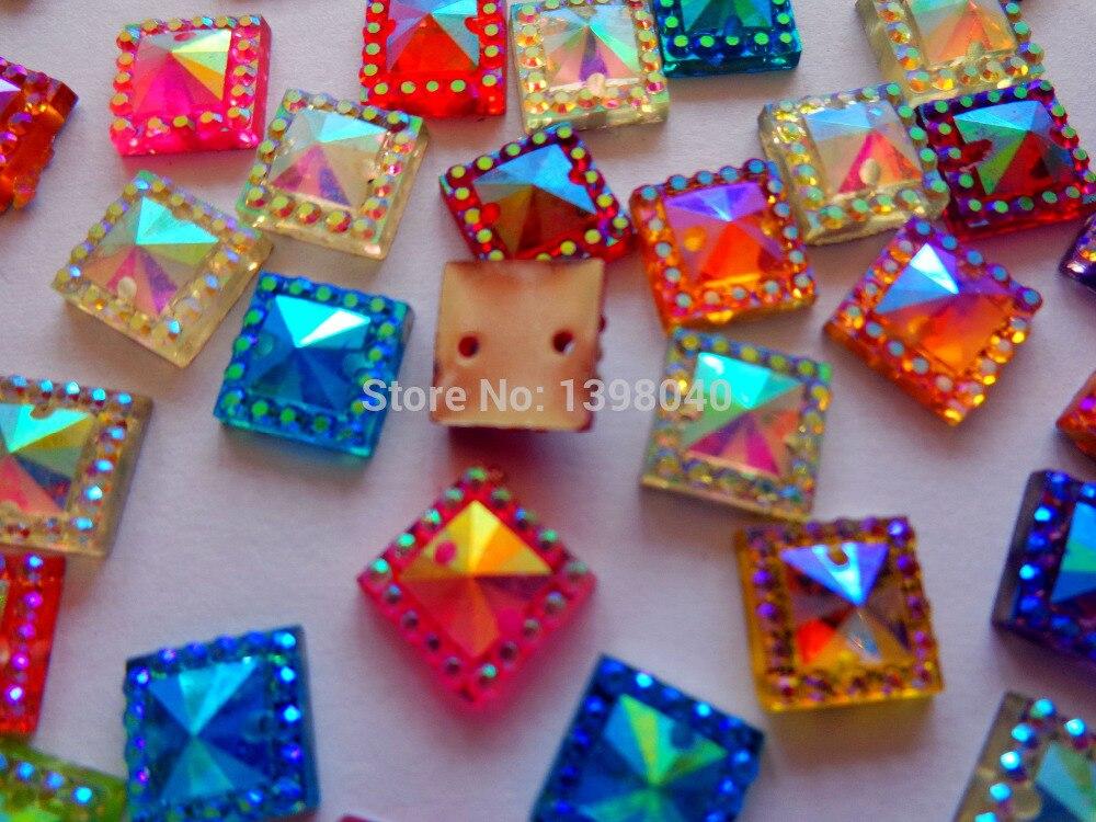 bd11007460ac Envío libre al por mayor mezcla multicolor cose en rhinestones del cristal  de Acryl piedras preciosas forma cuadrada 8 8 MM 200 unids lote