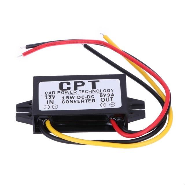 VODOOL DC 12V to DC 5V 3A 15W Auto Car Power Converter Regulator Adapter For Car DVR GPS Navi Vehicle Electronics Power Supply