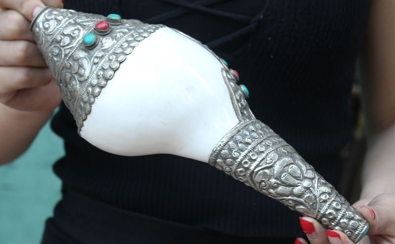 "11/""Old Tibet Buddhism Conch Inlay Silver Red Coral Turquoise Trumpet Horn Shell"