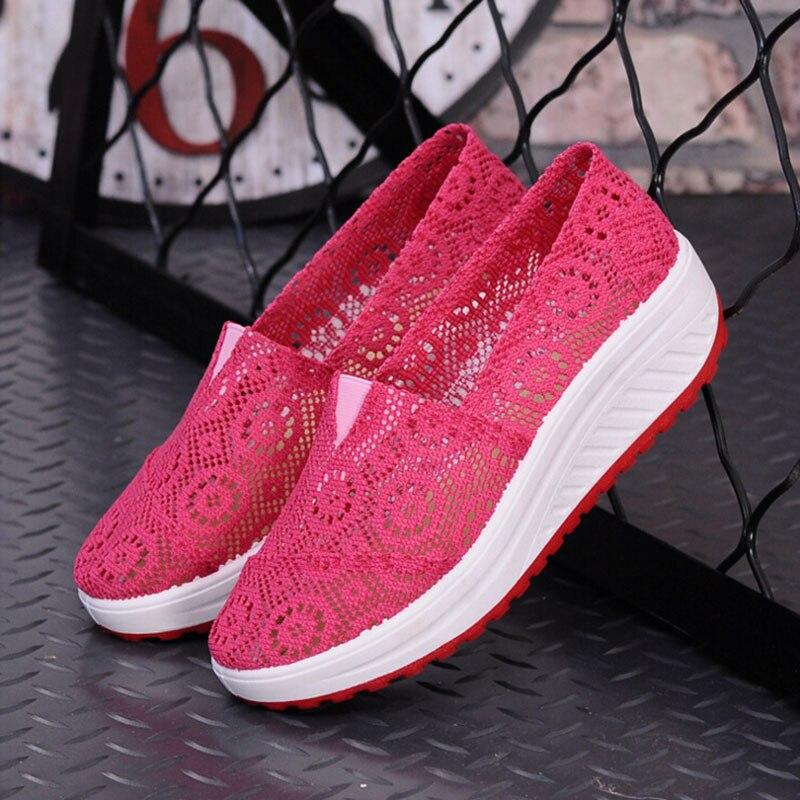 de Verano Transpirable Zapatos de Aumento de la Altura de Las Mujeres Zapatos C