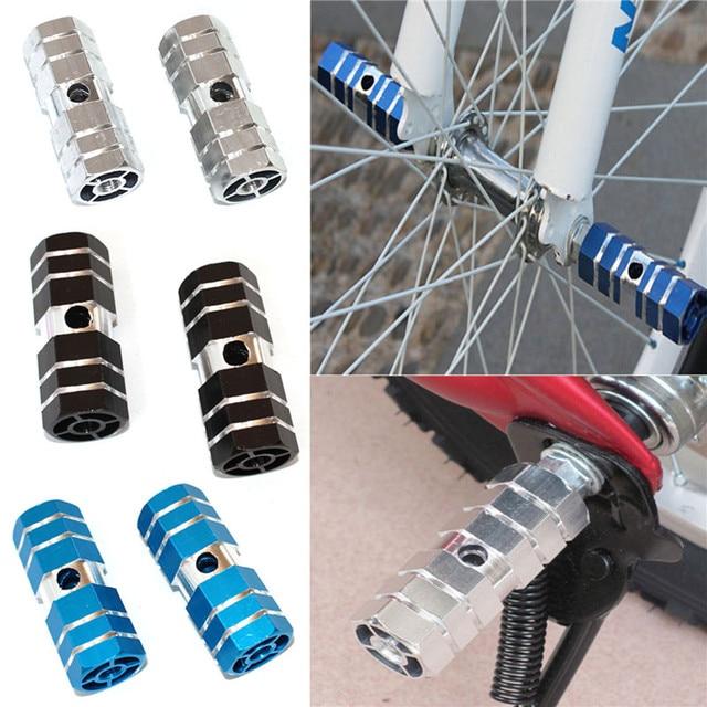 1 para aluminium antypoślizgowe MTB rower pedał przednia oś tylna Foot Pegs podnóżek dźwignia Cylinder akcesoria rowerowe