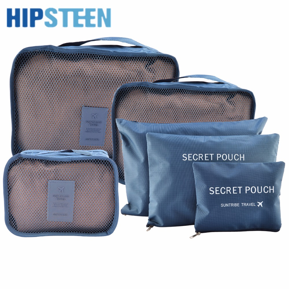HIPSTEEN 6Pcs Set Waterproof Travel Storage Bags Packing Cube Clothes Pouch Luggage Organizer - Grey