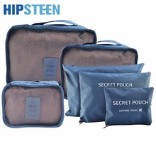 HIPSTEEN 6Pcs Set Waterproof Travel Storage Bags Packing Cube Clothes Pouch Luggage Organizer – Grey