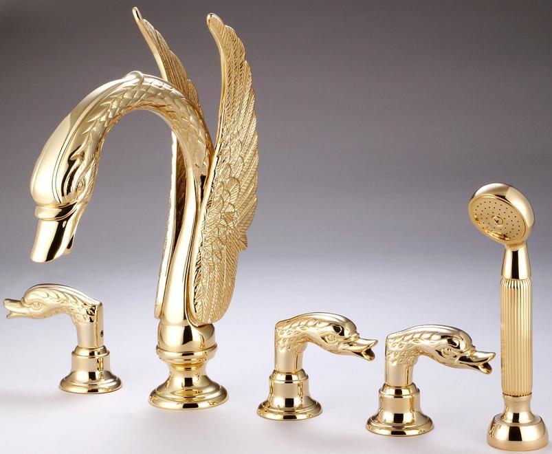 С золотым напылением отделка 5 шт. римская ванна смеситель в форме лебедя ванной кран