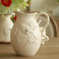 Home Furnishing Decor American country crack retro white ceramic vase embossed flower bird grain milk pot special offer