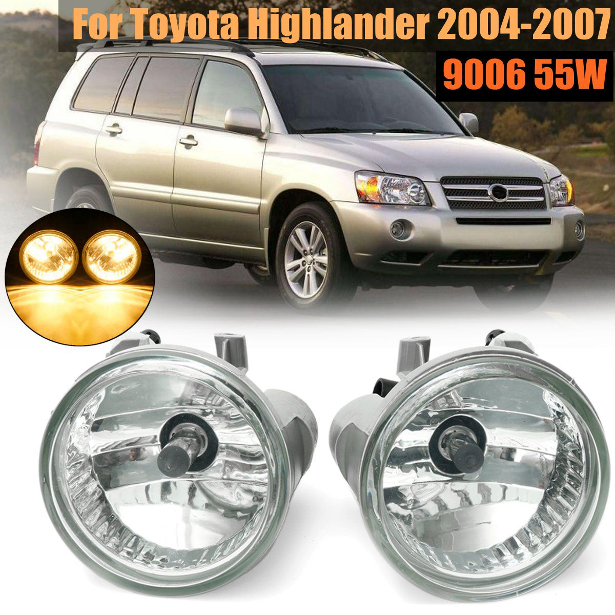 Pair Left and Right Front Clear Bumper Driving Fog Lights for Toyota Highlander 2004 2005 2006 2007