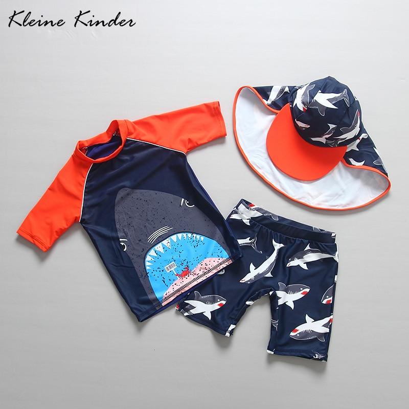 Kinder Bademode 2019 Sommer Kleinkind Junge Badeanzug Shark Drucken Zwei Stück Rash Guards mit Kappe kinder Badeanzug Strand kostüm