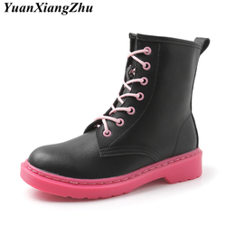Women Ankle Boots Shoes Woman Doc Martins 2018 Winter Boots Female Motorcycle Boots Dr Martins Punk Leather Plus Size Shoes New