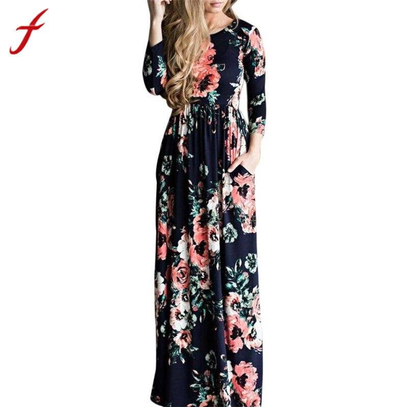 Robes playa verano 2018 Femmes Imprimé plus la taille longue robe Trois Quarts Manches Empire Fleur de Plancher-longueur maxi Robe robe