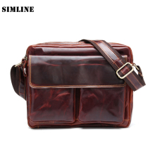 High Quality Vintage Casual 100% Genuine Oil Wax Leather Cowhide Mens Messenger Bag Shoulder Cross Body Bag Bags Handbag For Men