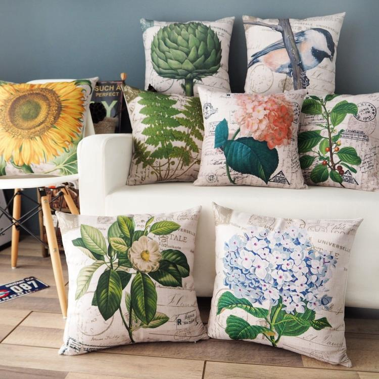 Nordic Simple Retro Flower And Plant Printed Pillowcase American Pastoral Cushion Decorative Pillow Home Decor Sofa Throw Pillow