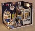 DIY Doll House Com Móveis Handmade Model Building Kits 3D quarto do Menino De Madeira Em Miniatura Dollhouse Toy Presentes