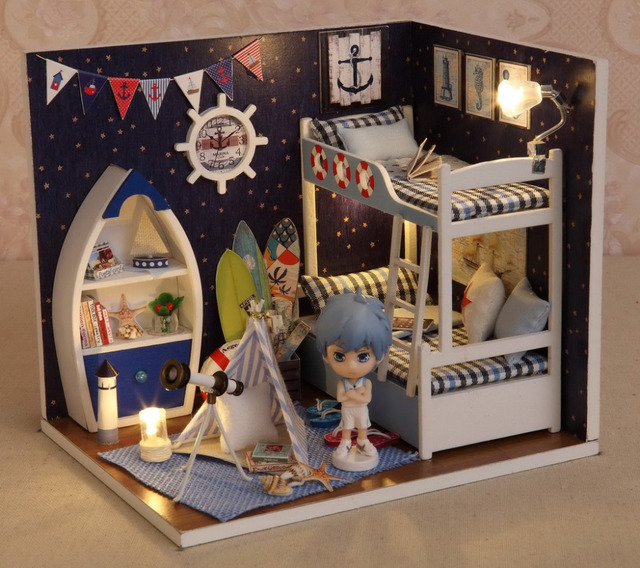 DIY Doll House With Furniture Handmade Model Building Kits 3D Boy's room Miniature Wooden Dollhouse Toy Gifts