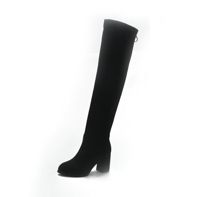 High Quality Women Fashion Winter Thigh High Boots Shoes Woman Fashion Botas Mujer 2018 New Suede Slim Boots Over The Knee High Boots