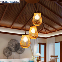 BOCHSBC Wicker And Bamboo Hand Knitted Lampshade Pendent Light Chinese Country Simple Hanging Lamp for Living Room Dining Room