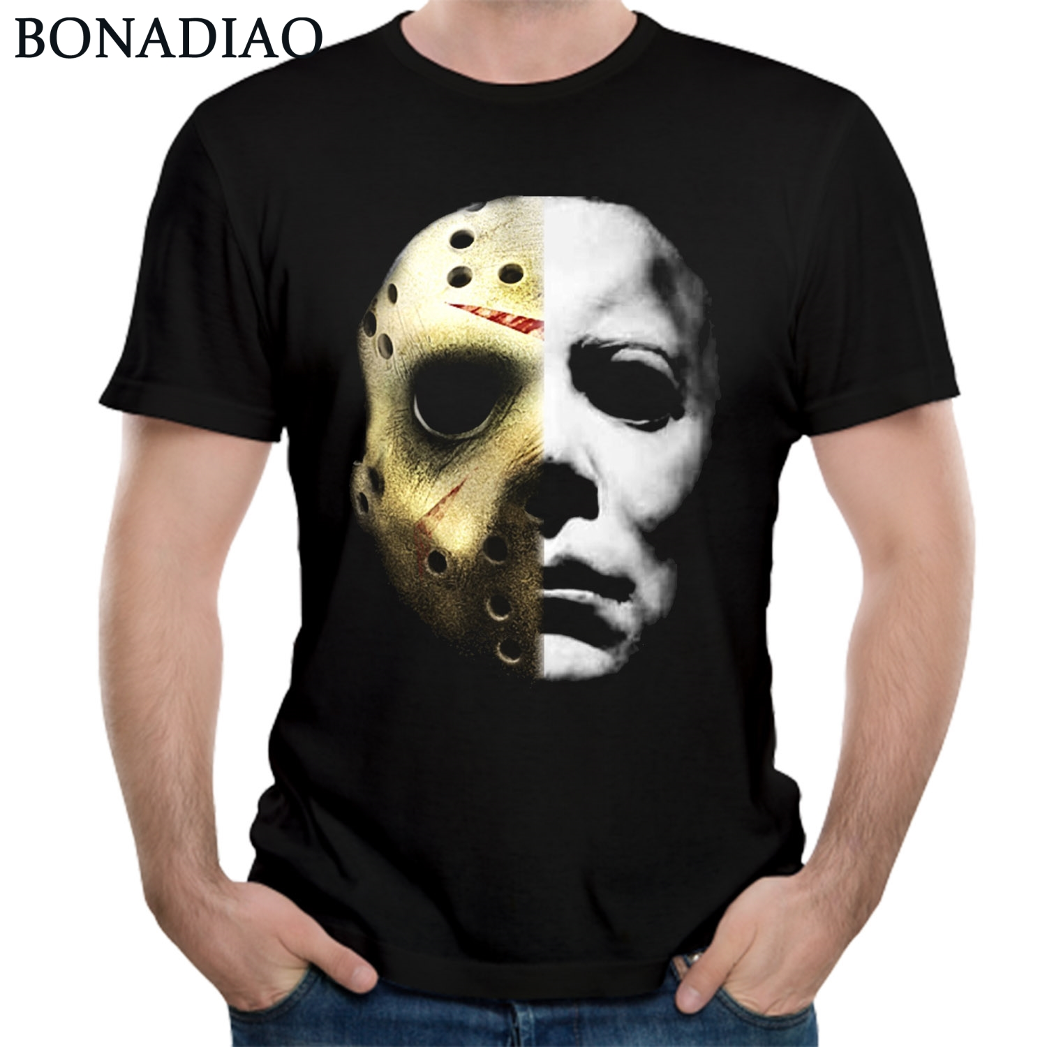 1dcfea19c25 Detail Feedback Questions about Horrorable Movie Halloween Michael Myers Mask  T Shirt Friday the 13th Jason Mike Face T Shirt Whole on Aliexpress.com ...