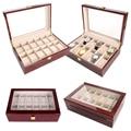 2019 lujosa caja de reloj de madera hecha a mano de 12 rejillas caja de reloj de madera caja de reloj caja de tiempo para reloj