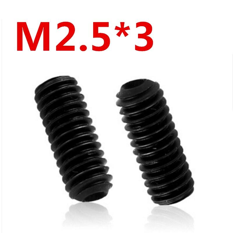 все цены на  Free Shipping 100pcs/Lot M2.5x3 mm M2.5*3 mm Alloy steel Hex Socket Head Cap Screw Bolts set screws with cup point  онлайн