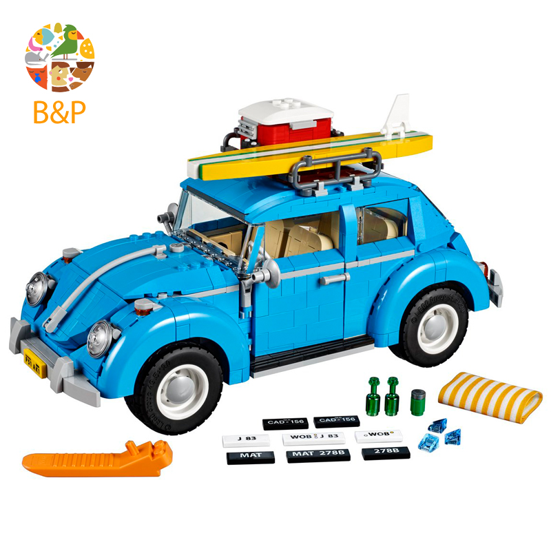 lepin Legoing 10252 1193Pcs Technic Series The City Car Volkswagen Beetle Model Building Blocks Toys For Children Gift 21003 2018 lepin 21003 technic series city car beetle model educational building blocks compatible legoing 10252 toy as children gift