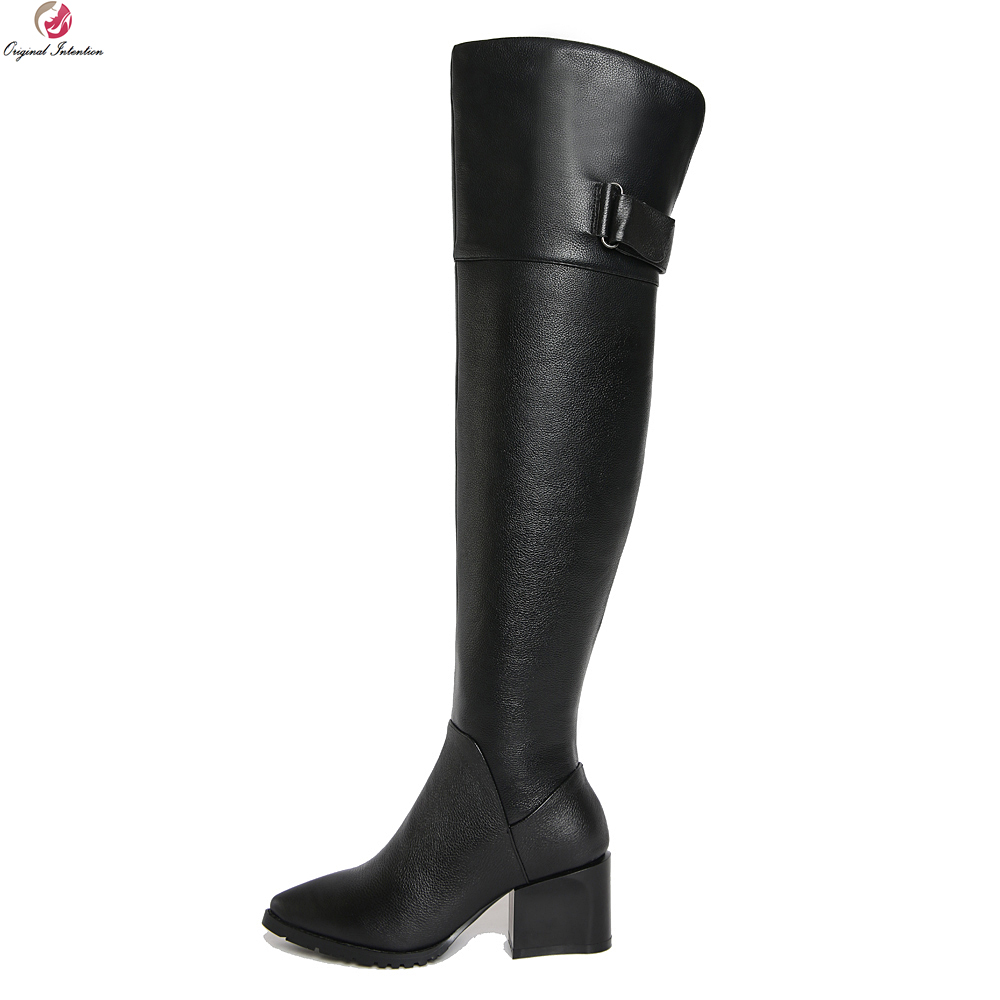 Original Intention Super Fashion Women Knee High Boots Real Leather Pointed Toe Square Heel Boots Black Shoes Woman US Size 4-10 original intention super high quality