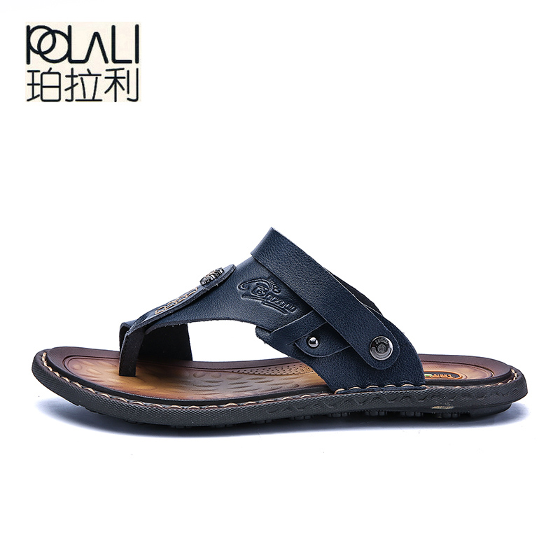 Image 2 - POLALI Men Sandals Genuine Split Leather Men Beach Sandals Brand Men Casual Shoes Flip Flops Men Slippers Sneakers Summer Shoes-in Men's Sandals from Shoes
