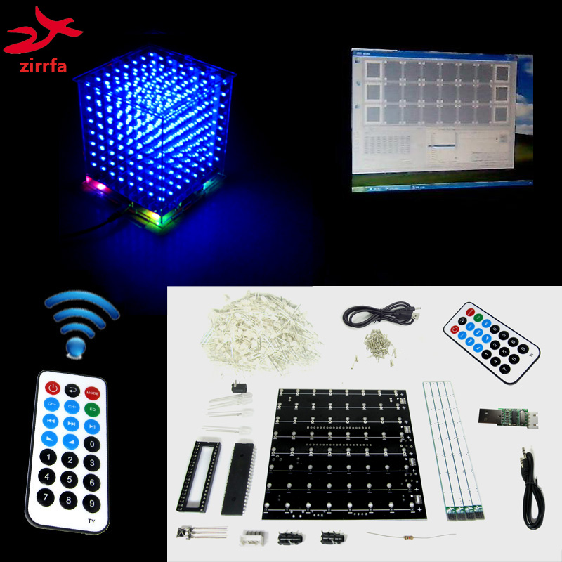 Christmas Gift 3D 8 8x8x8 led electronic light cubeeds diy kit remote with demo pc software/ LED Music Spectrum image
