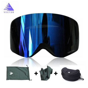 OTG Ski Goggles Snowboard Mask For Men Women Skiing Eyewear UV400 Snow Protection Over Glasses  Double Anti-Fog Cylindrical