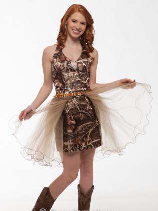 Free Shipping Strapless Realtree Max 4 Camo Formal Cocktail Prom