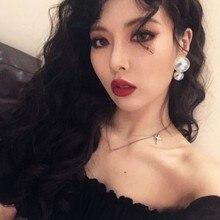 Lukeni 2019 Irregular Pearl Women Trendy Stud Earrings For Women Fashion Jewelry Korean Style Jewelry pair of trendy faux pearl plush stud earrings for women