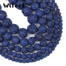 WLYeeS Dark Blue Lava Stone Bead 4/6/8/10/12 mm Natural Round Loose for Jewelry Bracelet Making DIY 15 Factory price